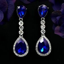 Rhodium Plated Blue Crystal Rhinestone Chandelier Drop Dangle Earrings 8357 Prom