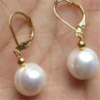 11-13mm white Baroque Pearl Earrings 18k hook Fashion Wedding Real Flawless