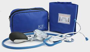 ICE Medical Blue Aneroid Blood Pressure Monitor - Sphygmomanometer & Stethoscope