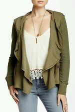 NWT $148 FREE PEOPLE CLEMENTINE LACE INSET HOODIE SIZE Medium OLIVE