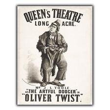 Oliver Twist Queen's Theatre Letrero de Metal Placa de Pared Vintage anuncio cartel impresión