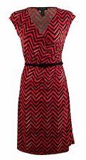 Womens Plus Size 3X Lauren Ralph Lauren Chevron Faux-Wrap Casual Dress Red Black