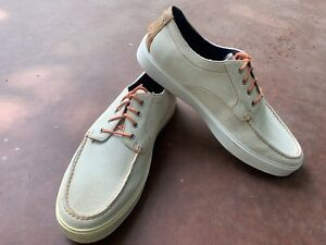 Men's Cole Haan White Leather Topsider Boat Shoes Size 11.5D