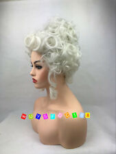Women Short Light Blonde Wavy Curly Christmas masquerade plays wig + wig cap