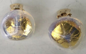 Vintage Mid Century Lucite Clip Earrings Clear w Gold Center Cloudy Edge