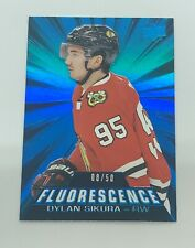2018-19 DYLAN SIKURA UD SERIES 2 FLUORESCENCE BLUE RC #F-35 BLACKHAWKS #8/50