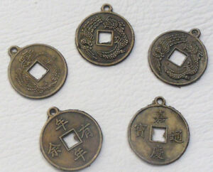 5 x Lucky Chinese Coins with Loop - Feng Shui