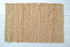 100% Natural Jute Rug Handmade Flat Knotted Dhurrie Eco Friendly 90x60cm 2'x3'