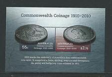 AUSTRALIA 2010 COMMONWEALTH COINAGE MINISHEET FINE USED