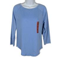 Mossimo Raglan Top 3/4 Sleeve Light Blue Jersey Scoop Neck Tapered Hem Size XS