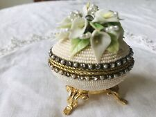 """Quail egg handcaving & decorated with beads 2.5""""x3"""" pearl"""