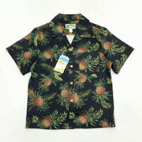 BOB DONG Pineapple Print Vintage Hawaiian Shirts Summer Mens Aloha Party Shirt