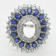 7x9mm Oval Cut 14kt White Gold Natural Sapphire Natural Diamonds Semi Mount Ring
