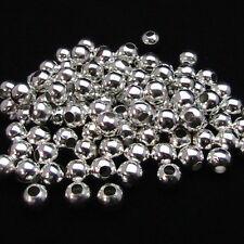 3mm-200Pcs Silver Plated Glossy Round Metal Ball Loose Spacer Beads With Hole