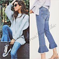 Zara Mid Rise Blue Frilled Hem Crop Jeans Size 6 10 US 2 6 34 38 Blogger❤
