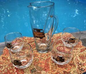 Vintage Mid-Century Art Glass Trucks Bar Pitcher Stirrer 4 Roly Poly Glasses Set