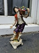 ANTIQUE DRESDEN GERMANY PORCELAIN FLOWER SELLER YOUNG MAN FIGURE FIGURINE