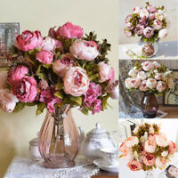 13 Heads Silk Peony Artificial Flowers Peony Wedding Bouquet Home Party Décor UK