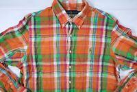 Polo Ralph Lauren MENS XL PLAID LINEN LONG SLEEVE BUTTON DOWN SHIRT OXFORD MINT