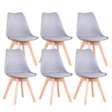 6er Set Esszimmerstühle Wohnzimmerstuhl mit Kissen & Massivholz Buche Bein Grau