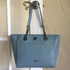 Coach 57107 Turnlock Chain Tote 27 Pebble Leather Cloud