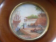 ancienne petite peinture miniature seine de péche  signé