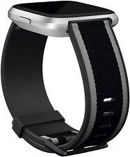 Fitbit Versa/Versa Lite, Woven Accessory Band, Black/Gray, Large