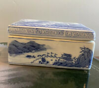 Vintage CHINESE PORCELAIN BLUE AND WHITE LIDDED TRINKET BOX WILLOW