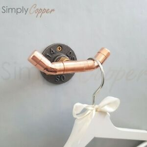 Copper Double Coat Hook / Bathroom Hook / Mug Hook - Industrial Style (#4)