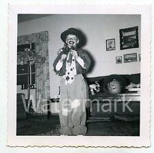 1950s snapshot photo Young Boy in Hobo Halloween costume    #4