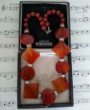 VINTAGE ART DECO CARVED CARNELIAN AGATE BEADS NECKLACE STERLING CLASP UNUSUAL