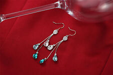 Genuine Swarovski Crystals Element Drop Dangle Sparkly Shiny Ocean Blue Earrings