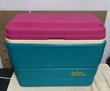 Vintage Igloo Legend 28 Cooler With Fish Ruler Fuchsia/Teal 1992
