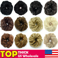 Natural Pony Curly Messy Bun Hair Piece Scrunchie Fake Hair Extensions US Stock