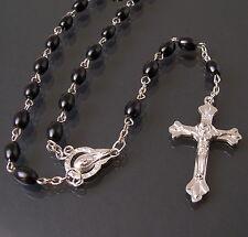 Rosenkranz schwarz Perlen Kette Kreuz silber Maria Herren Damen Schmuck K1821*