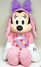 Minnie Mouse Disney Plush Easter Bunny Pink Polka dots Bow Stuffed Animal 18 In