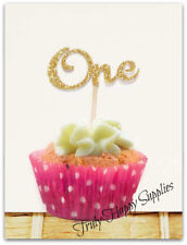Number ONE Cupcake Topper x 6 1st birthday muffin cake picks  16 glitter colours