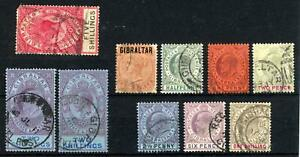Gibraltar QV to KGV Used selection of 10 stamps on stock card HIGH CATALOGUE!