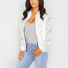 Women Celeb Biker Bomber Jacket Lace Crochet Long Sleeve Top Blazer Coat Outwear