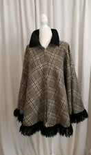 Vintage Winter Cape Poncho Plaid W/ Velveteen Collar And Knit Fringe