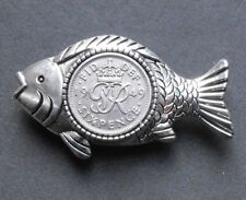 fishing lure tackle present gift king 1949 70th birthday lucky Fish Brooch badge