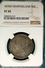 1876H NGC VF30 Netherlands New Foundland 50 Cents!! #B4794