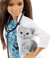 Barbie🌟Pet Vet Doll🌟Brunette,Wearing Career Pet-print Dress with kitty Patient