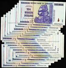 20 x 10 Billion Zimbabwe Dollars BankNotes AB 2008 Currency *Pre 50 100 Trillion