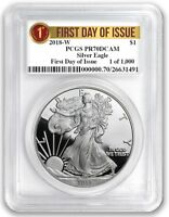 2018 W Silver Eagle Proof PCGS PR70 First Day Issue 1 of 1000 Label