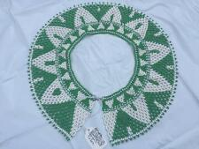 """Vintage Hand Bead Green and White African Tiny Beaded Jewelry Collar 12.5"""""""