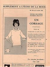 ▬► Patron Couture Écho de la Mode - 1962 N°29 - Taille 48 50 52 - Corsage