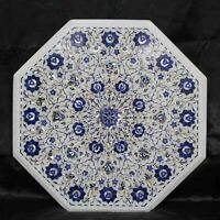 21 Inches Marble Center Table Top Gemstone Patio Coffee Table Pietra Dura Art