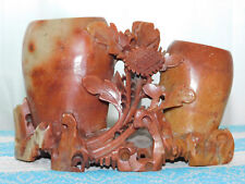 "VINTAGE CARVED JADE  DOUBLE VASE 4""X6"" EX CONDITION"