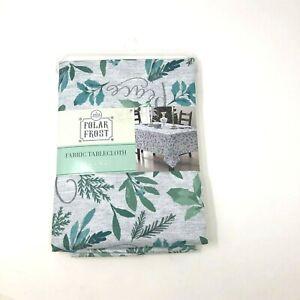 "Winter Wonder Lane Polar Frost Fabric Tablecloth 52"" X 70"" Green & Aqua Blue New"